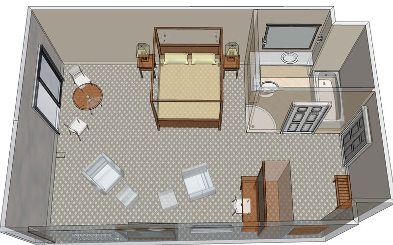 Hotel Room With Kitchen. King Bed Layout Sleeps 4 |Suite Room Layout